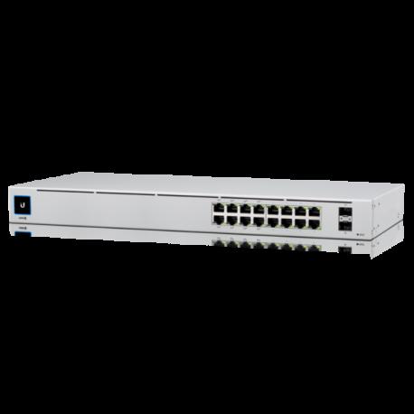 UniFi Switch 16 puertos GIGABIT, x8 puertos POE, 42W, x 2 puertos SFP. RACK
