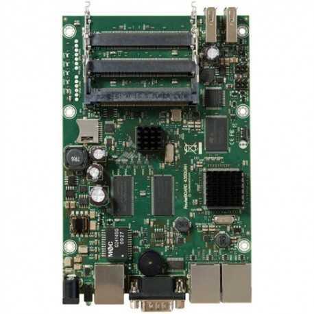Routerboard SIN WIFI, 680MHz, 256MB RAM, x3 Gb, x5 Slots MiniPCI. Level 5