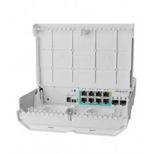 Switch gestionable para Exterior, x7Gb PoE in, x1 PoE out, x2 SFP+, SwitchOS