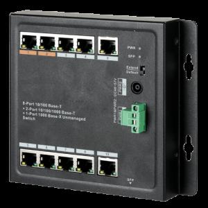 Switch de 8 puertos 10/100/1000 POE 96W + x2 UPLINK 10/100/1000 + x1 SFP, para montaje en pared. Hasta 250 metros