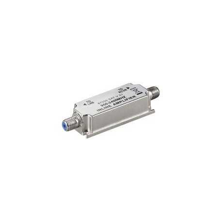Amplificador de línea, 950-2150 MHz (sin fuente, se alimenta a través del cable coaxial) 12 a 20 dB.