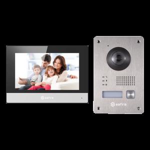 """Kit videoportero 2 hilos con conversor a IP placa INOX superficie para supervisión vía smartphone. Con monitor 7"""" Wifi. Unifami"""