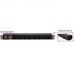 "Regleta para Racks de 19"", 16A, x8 Schuko + interruptor, en aluminio. Cable IEC Macho"
