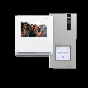 """Video portero color, tecnología 2 hilos, Placa Quadra, monitor manos libres Icona. 4.3"""". Con posibilidad de 1 a 4 viviendas"""