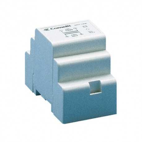 Transformador con entrada de 230v y salida de 12vac/900 ma. Dimensiones: 53x95x65 mm (3 módulos din).
