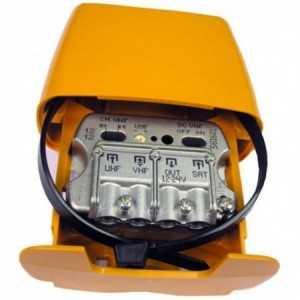 Amplificador de mástil 3 Entradas. VHF/ UHF/ Mezcla satélite, 24dB, 104dBuV