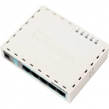 Routerboard CPU Atheros 300 MHz, consumo de 100mW, con WIFI 802.11 b/g/n, chip de memoria 32MB SDRAM, 5 puertos 10/100. RouterO