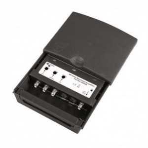 Amplificador de mastil, 3 entradas, FM/DAB/UHF (21-60), 20/35-dB, 103dbuV, ali.. 12-24V.