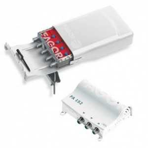 Amplificador de mástil AML 440 (FM/BIII-DAB/UHF1/UHF2, 18/18/38/38dB, 114dBuV) + Fuente FA 152. Paso DC conmutable