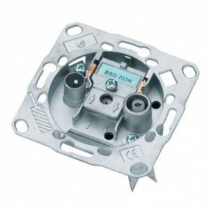 Toma FINAL TV-FM/ SAT. Con (DC) paso de corriente. Pérdida de inserción 1 dB. 5-2300Mhz