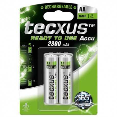 Paquete de 2 pilas RECARGABLES LR 06 AA NiMh de 2300mA con pre-carga para usarla desde el principio. 23819 Tecxus
