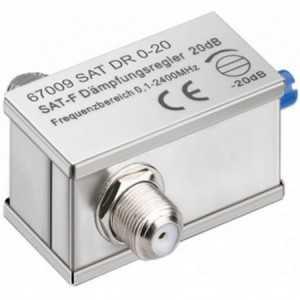Atenuador SAT ajustable 0-20dB, conectores F. Paso de corriente
