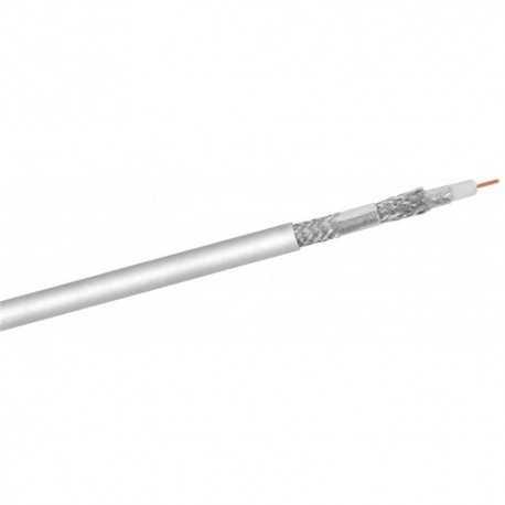 Cable coaxial Tv 6,9mm aluminio cobreado, x2 lámina y x2 malla de aluminio(120dB apantallamiento), 31.8dB/2150MHz. Bobina 100m