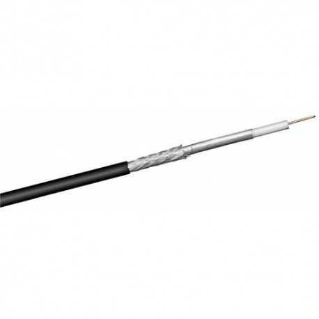 Cable coaxial de exterior, conductor interno de 1,1 mm de acero cobreado, malla y lámina de aluminio, 17,7dB (800MHz), 30,6dB (