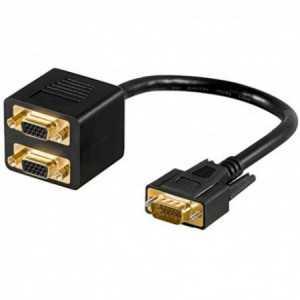 Conexión VGA macho a 2x VGA hembras para varios equipos a un puerto VGA.