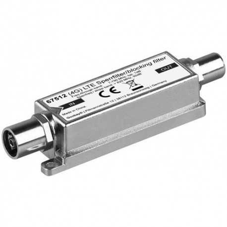 Filtro de rechazo LTE, 50dB, rango frecuencia 5-790 Mhz. F-jack/F-jack