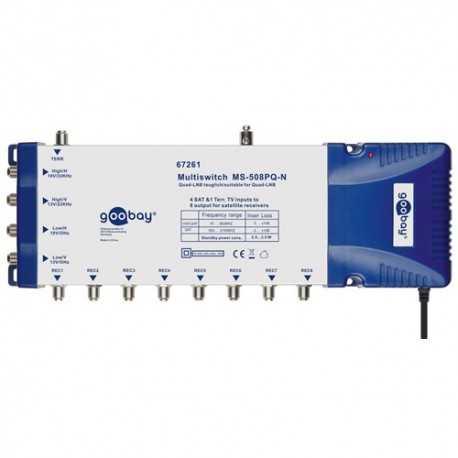 Multiswitch 5 entradas y 8 salidas. Nivel salida FI 100-101 dBµV. Nivel salida Terrestre 83-85 dBµV. Fuente Incluida.