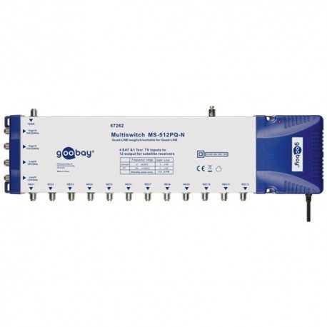 Multiswitch 5 entradas y 12 salidas. Nivel salida FI 100-101 dBµV. Nivel salida Terrestre 83-85 dBµV. Fuente Incluida.