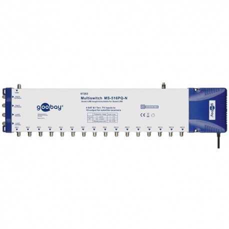 Multiswitch 5 entradas y 16 salidas. Nivel salida FI 100-101 dBµV. Nivel salida Terrestre 83-85 dBµV. Fuente Incluida.