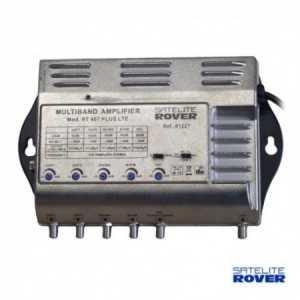 Amplificador 5 entradas: BI, FM (35db) BIII/BS (35dB), UHF UHF (53dB), Satélite (35dB). Nivel de salida 117 dBuV.