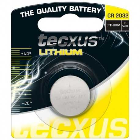 23683. Paquete de 1 pila Botón CR2032 de 3V. Tecxus