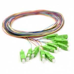 Pack de 12 Pigtails de fibra óptica de colores 2mts SC/APC G657A. 900um, monomodo 9/125. 360349