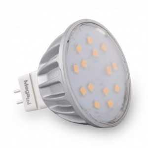 Bombilla LED MR16/GU5,3 SMD, 5W (45W), 4000K Fría, 120º, 12VAC. MegaLed