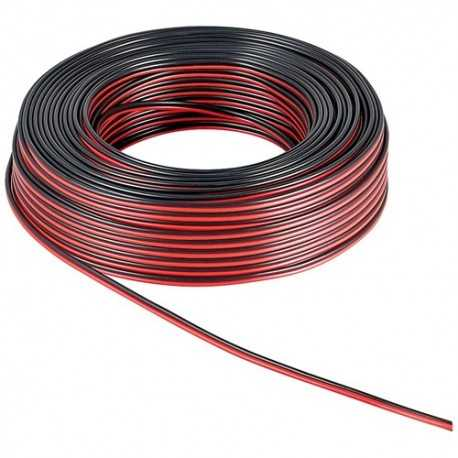 Cable de audio bicolor (ROJO Y NEGRO) 25mts, 2x 1,5mm², libre de oxígeno