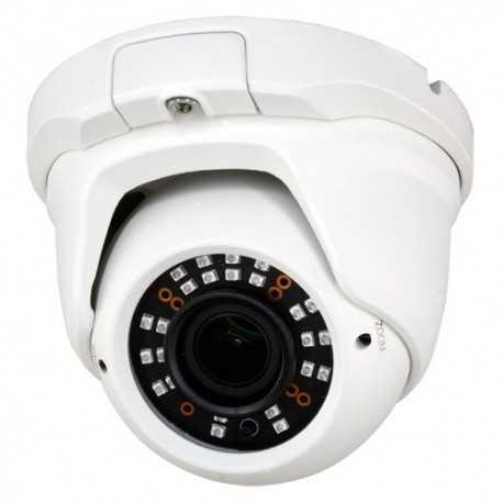 Cámara domo 4 en 1, 720p, 2.8-12mm, IR 30mts. IP66, blanca