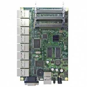 Routerboard SIN WIFI, 300Mhz, 64Mb RAM, x9 10/100, x3 MiniPci, x1 USB, Level 4