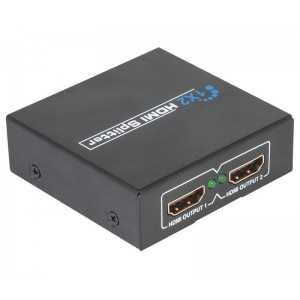 Repartidor HDMI de 1 entrada y 2 salidas. Soporta 1080p, 3D y audio Dolby digital rela. 1,3b y HDPC. Conectores bañados en oro.