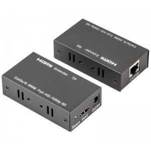 Conversor HDMI - RJ45 Cat.5/Cat 6, Amplificado hasta 60mts (Cat.6). Soporta 3D y 4K