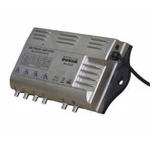 Central amplificadora de 4 entradas (BI/FM/ 2 UHF-BIII). Ganancia: BI/FM (15-35dB) / BIII/BS(20-40dB) / UHF (33-53dB) / UHF (33
