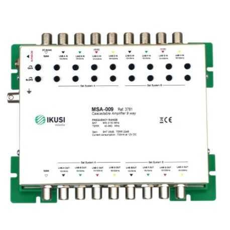 Amplificador,1 entrada terrestre VHF+UHF, 45dB, regularización 0-20 dB. salida 117 dBuV. LTE Incorporado con conmutador. Rover