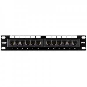 Patch panel de 12 puertos Cat6e UTP para racks de 19 pulgadas