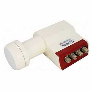LNB Quad (4 Receptores), 55dB, 0,3dB ruido, cuello 40x70mm (An x Largo)
