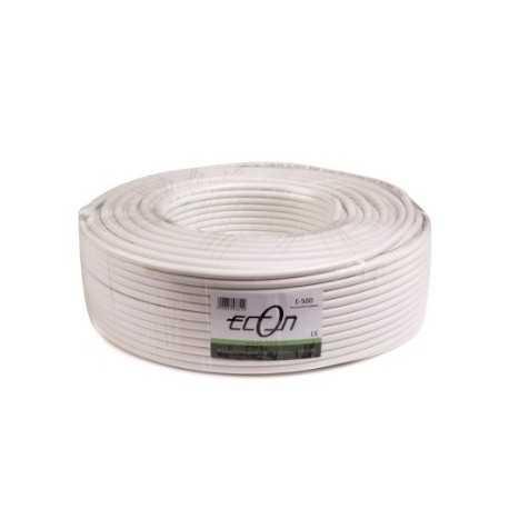 Cable coaxial blanco de doble malla en retractil de 100 Metros.