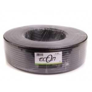 Cable coaxial Polietileno Exterior negro 6,8mm, conductor 1,02mm de acero cobreado. 21,98dB a 800Mhz. Bobina de 100 Metros