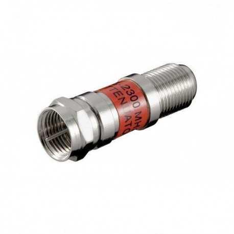 Atenuador SAT (5-2300Mhz) de 12dB, DC pass, tolerancia: +/- 1,5dB,conector F macho a F hembra