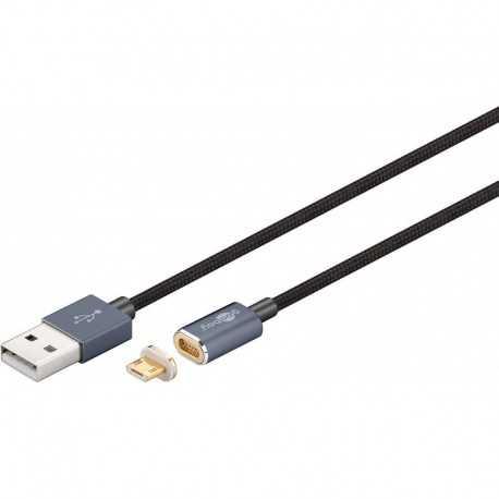 Cable USB a Mini USB de 1.2mt para carga y sincronización de dispositivos Android MAGNETICO