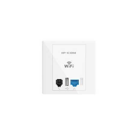 Punto acceso 2.4Ghz 300mbps en toma de pared (Diseño encastre Europeo 86mm), 802.3af, Puerto USB carga 5V 0.5A, Vlan para multi