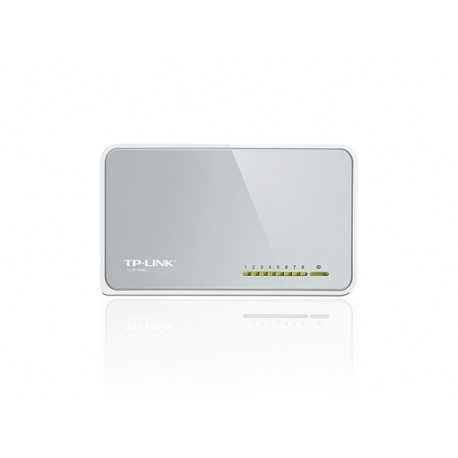 Switch RJ45 de sobremesa con 8 puertos LAN a 10/100 Mbps y carcasa de plástico