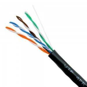 Cable UTP CAT5e de cobre, para exterior (Polietileno negro), Bobina de 305mts