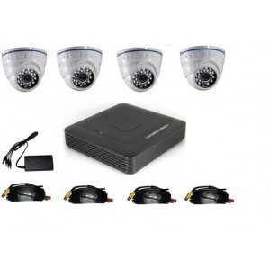 Kit completo compuesto de: DVR 4 canales + 4 cámaras domo IR 20mts CMOS 720p + Fuente de alimentación + Cableado conectorizado.