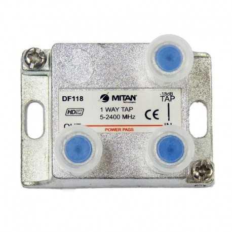 Derivador 1 salida, 18db, 5-2400Mhz, paso CC, F, planta 4 y 6. Mitan