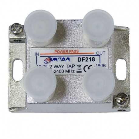 Derivador 2 salida, 18db, 5-2400Mhz, paso CC, F, planta 4 y 6. Mitan