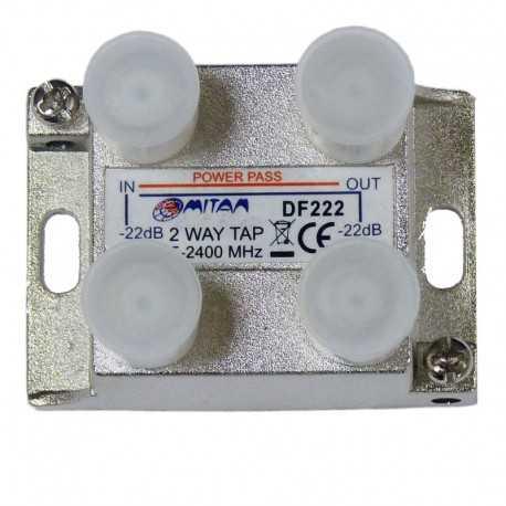 Derivador 2 salida, 22db, 5-2400Mhz, paso CC, F, planta 7 y 9. Mitan