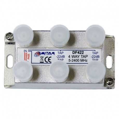 Derivador 4 salida, 22db, 5-2400Mhz, paso CC, F, planta 7 y 9. Mitan
