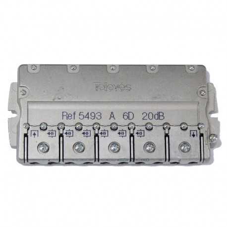 Derivador 6 líneas, 20dB, 5-2400 MHz (planta 1). Televés 5493