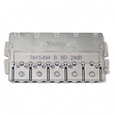 Derivador 6 líneas, 24dB, 5-2400 MHz (planta 4 y 5). Televés 5494